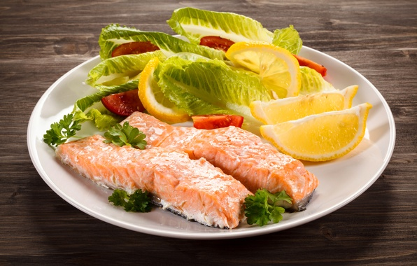 Картинка листья, лимон, рыба, lemon, помидоры, салат, fish, сервировка, tomato