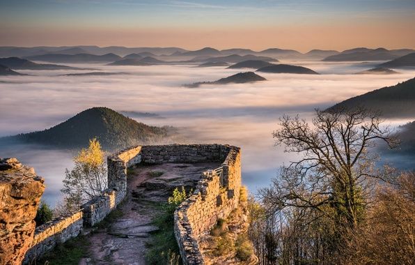 Картинка Sunrise, Castle, Mountains, Mist, Fog, Forest, Hills, Palatinate, Wegelnburg, Ruins