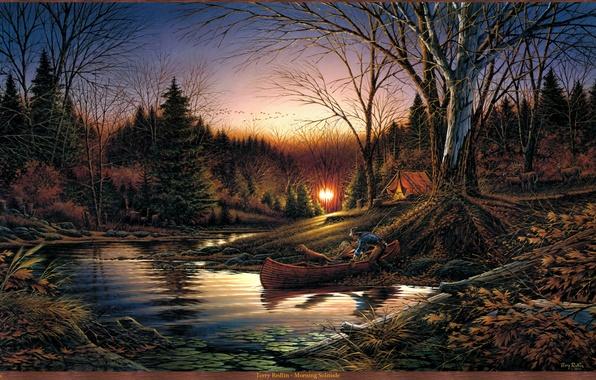 Картинка осень, лес, река, восход, лодка, собака, утро, палатка, живопись, олени, перелетные птицы, Terry Redlin, Morning ...