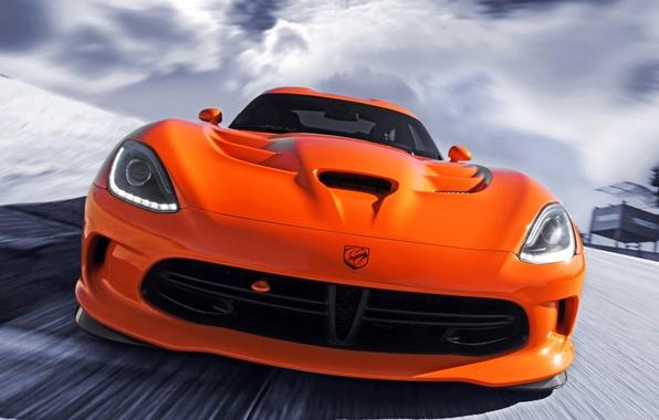 Картинка оранжевый, Додж, Dodge, суперкар, Viper, передок, Вайпер, SRT
