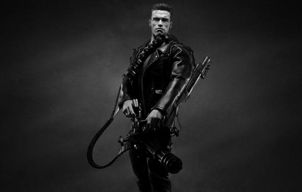 Картинка темный фон, оружие, Арнольд Шварценеггер, Терминатор, Arnold Schwarzenegger, The Terminator