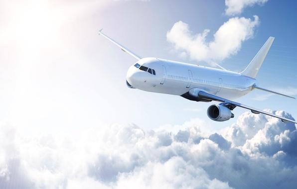Картинка фото, Небо, Облака, Самолет, Авиация, Пассажирский