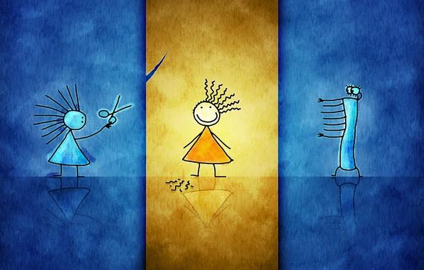 Картинка стекло, оранжевый, синий, желтый, бумага, десктоп, плоский, девочки, рисунок, панк, урод, парикмахер, стеклянный, стрижка, детский