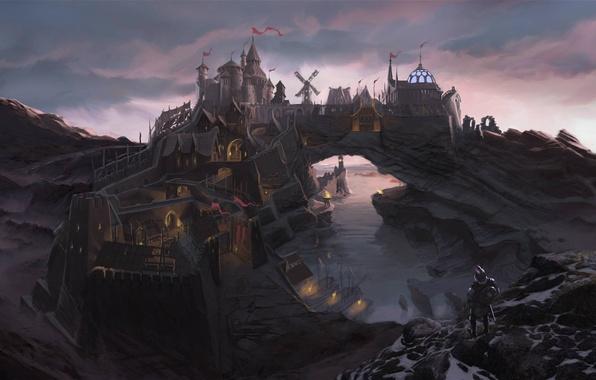 Картинка мост, город, река, скалы, человек, бухта, крепость, Skyrim, concept art, The Elder Scrolls V, Солитьюд, …