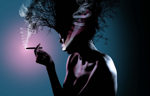 Картинка девушка, стиль, фон, волосы, дым, сигарета