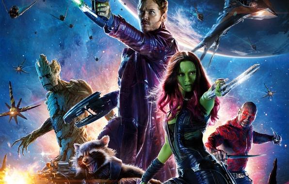 Картинка Girl, Heroes, Sky, Space, Green, Planet, Galaxy, the, Laser, Guns, Marvel, Vin Diesel, Bradley Cooper, …