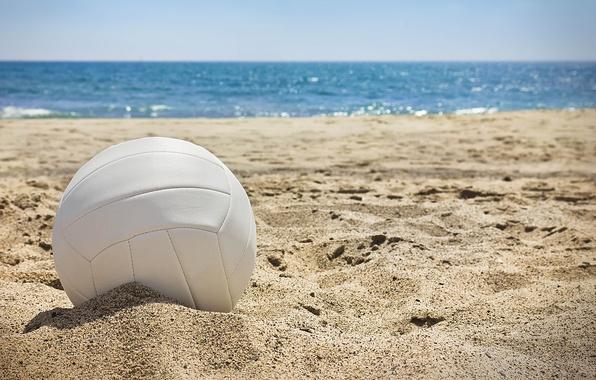 Картинка песок, море, волны, солнце, пейзаж, отдых, мяч, позитив, размытость, день, summer, sun, sand, солнечный, боке, ...