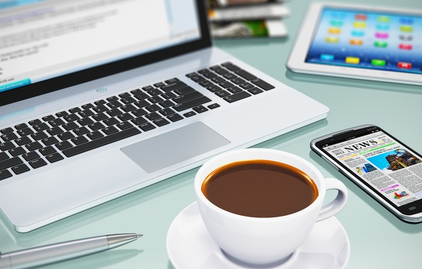 Обои техника Notebook смартфон кофе картинки на рабочий