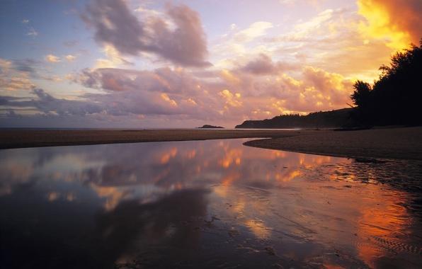 Картинка вода, облака, берег, Закат, вечер