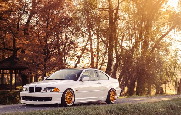 Картинка BMW, Белая, БМВ, COUPE, White, E46, Купе, Stance, 323ci