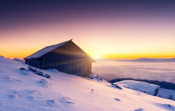 Картинка холод, зима, небо, снег, деревья, природа, дом, рассвет, холмы, пейзажи, тишина, утро, мороз, леса, широкоформатные …