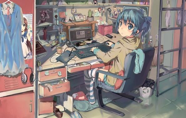 Картинка девушка, провода, аниме, арт, ноутбук, misaka mikoto, vocaloid, hatsune miku, to aru kagaku no railgun, …