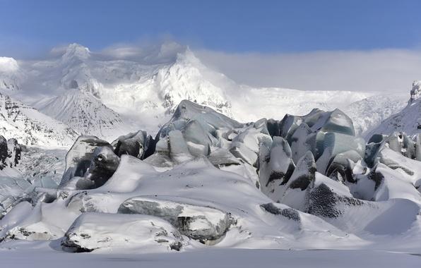 Картинка зима, небо, снег, пейзаж, горы, Исландия