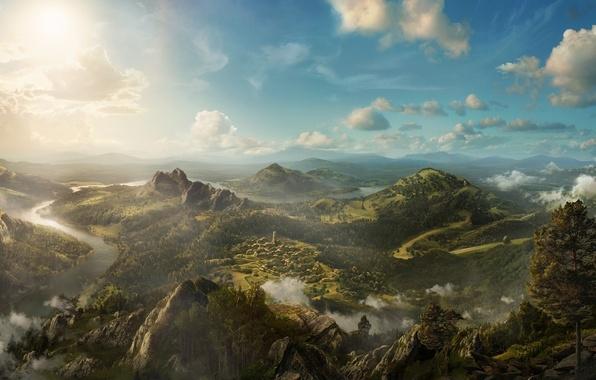 Картинка облака, деревья, пейзаж, горы, река, скалы, холмы, вид, высота, деревня, арт, панорама, поселение