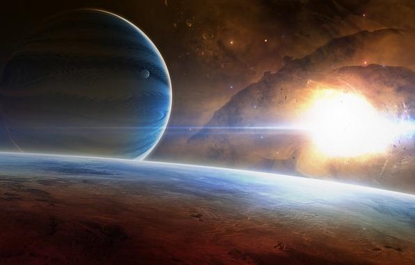 Картинка космос, туманность, звезда, планеты, арт, space, universe, star, nebula, art
