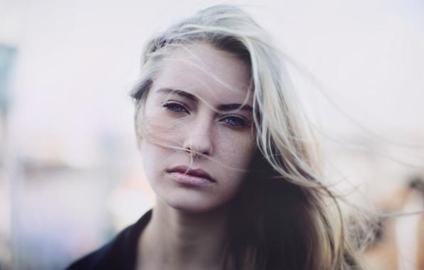 Картинка взгляд, девушка, настроение, волосы, блондинка