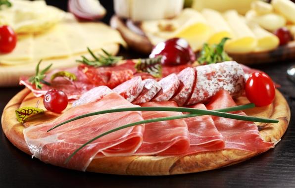 Картинка сыр, лук, мясо, овощи, помидоры, колбаса, блюдо, балык