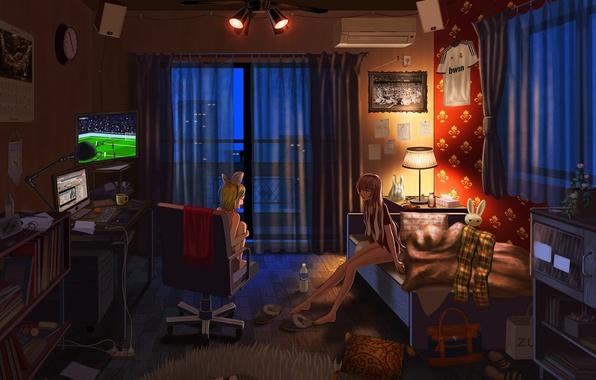 Картинка компьютер, кот, ночь, огни, девушки, комната, футбол, вещи, мяч, часы, бутылка, лампа, кровать, дома, телевизор, …