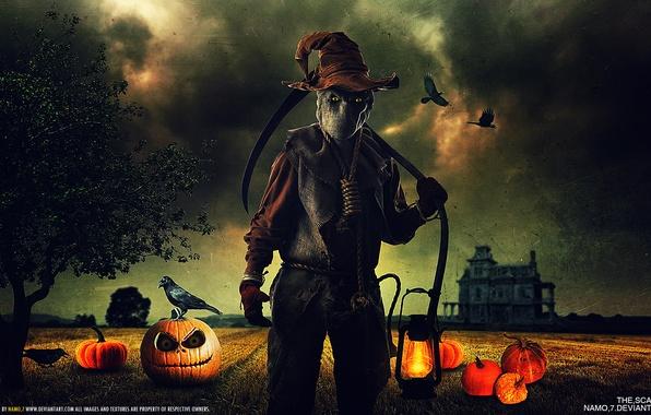 Картинка глаза, дом, опасность, лампа, шляпа, тыква, вороны, коса, хэллоуин, мешок