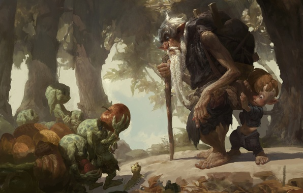 Картинка лес, гусеница, яблоко, ребенок, мальчик, арт, старик, гоблины, рюкзак, путник, старец