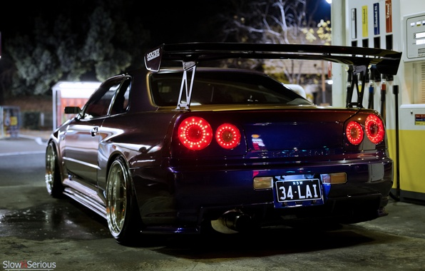 Картинка ночь, тюнинг, GT-R, ниссан, Nissan Skyline, R34, скайлайн