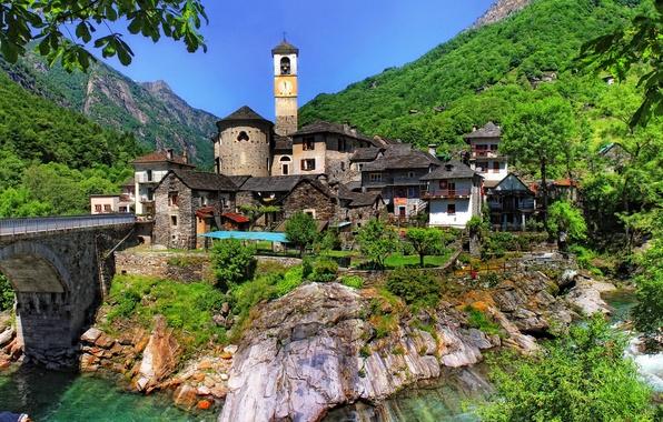Картинка небо, деревья, пейзаж, горы, мост, скала, река, башня, дома, Швейцария, склон, lavertezzo, ticino