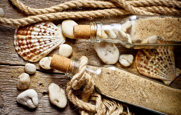 Картинка sand, stones, shell, rope, bottle, old wood