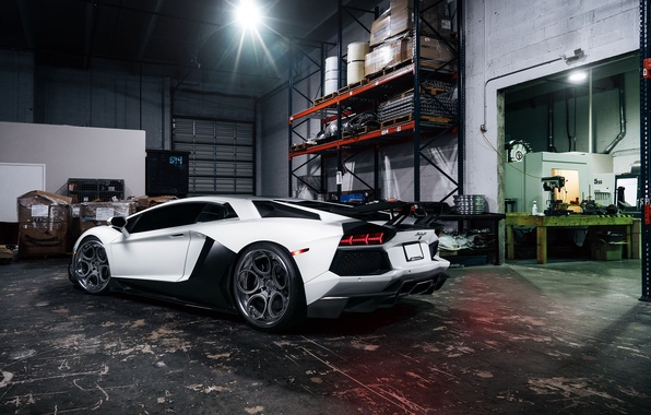 Картинка Lamborghini, White, Matte, Tuning, LP700-4, Aventador, Supercar, Wheels, Garage, Rear, ADV.1