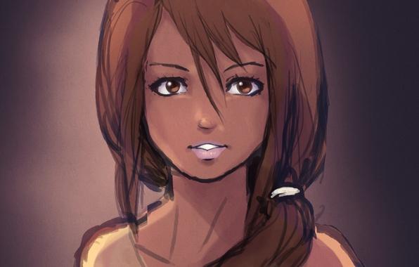 Картинка глаза, взгляд, девушка, лицо, фон, рисунок, аниме, хвостик