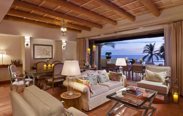 Картинка море, дизайн, лампы, диван, стулья, интерьер, свечи, кресла, столы, столик, interior, пальмы., resort, suite, desigen, …