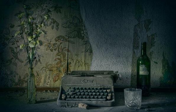 Картинка ретро, пыль, пишущая машинка
