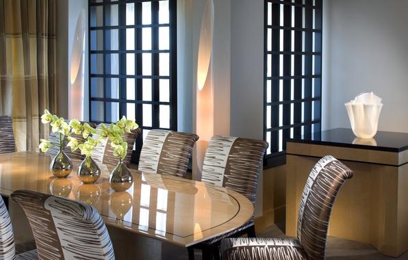 Картинка белый, цветы, дизайн, стиль, стол, лампы, окна, стулья, интерьер, орхидеи, коричневый, вазы, столовая