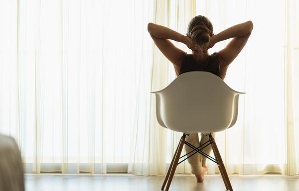 Картинка woman, chair, comfort, curtains