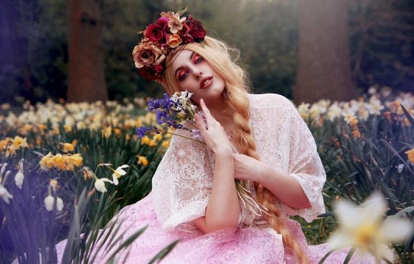 Картинка девушка, цветы, настроение, букет, коса, венок, нарциссы, Arabella