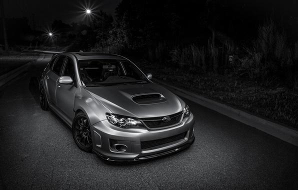 Картинка Subaru, light, silver, road, wrx, impreza, night, front, sti