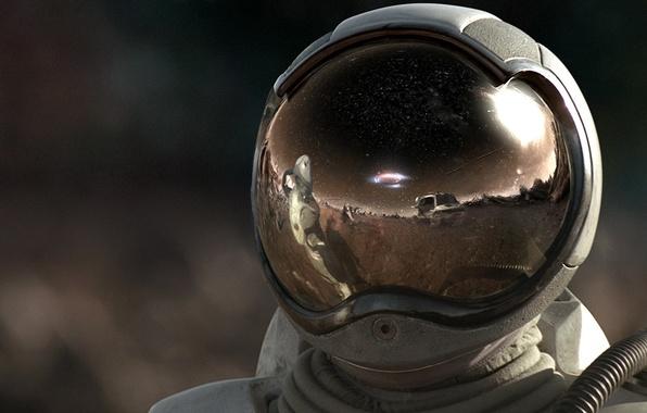 Картинка отражение, космонавт, Скафандр, шлем, 157