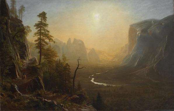 Картинка картина, живопись, Yosemite Valley, painting, Albert Bierstadt, Glacier Point Trail