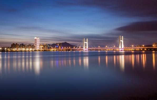 Картинка ночь, мост, city, lights, огни, отражение, река, China, подсветка, Китай, Тайвань, river, bridge, night, Тайбэй, …