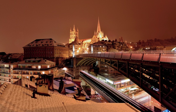 Фото обои огни, Швейцария, собор, мост, ночь, Лозанна, дома