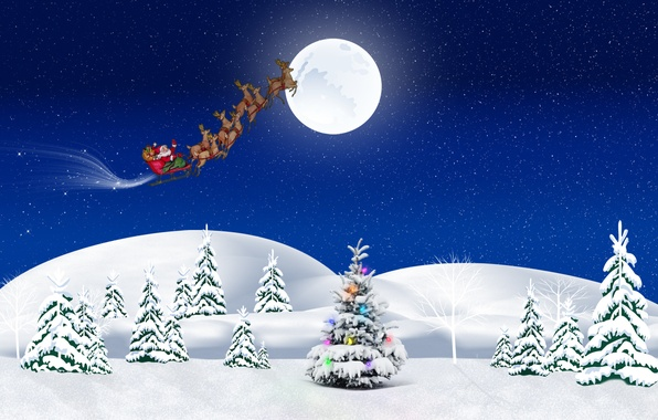 Картинка зима, снег, праздник, елка, новый год, подарки, упряжка, санта клаус, сани, олени