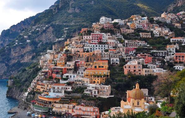 Картинка sea, Italy, coast, rocks, houses, church, Positano
