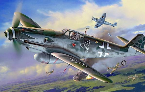 Картинка рисунок, арт, штурмовик, Messerschmitt, Luftwaffe, Ил-2, перехват, одномоторный поршневой истребитель-низкоплан, Gustav, Erla, Bf.109G-10