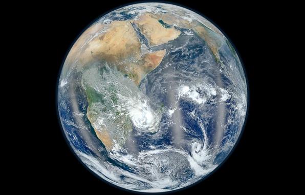 Картинка космос, облака, Земля, space, материки, Earth, океаны