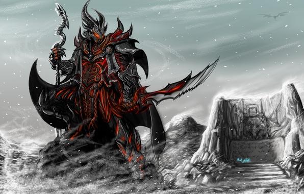 Картинка оружие, игра, меч, доспехи, арт, всадник, посох, skyrim, стена слов