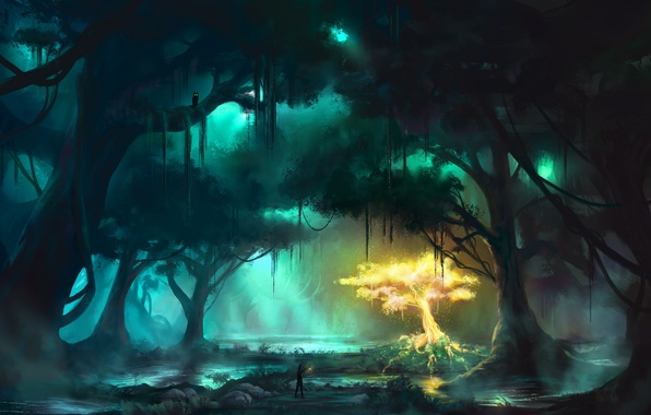 Картинка лес, вода, лучи, деревья, туман, отражение, болото, свечение, арт, дымка, живопись, отблески, просветы, топь