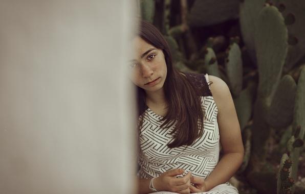 Фото обои взгляд, девушка, лето, грусть, лицо, волосы