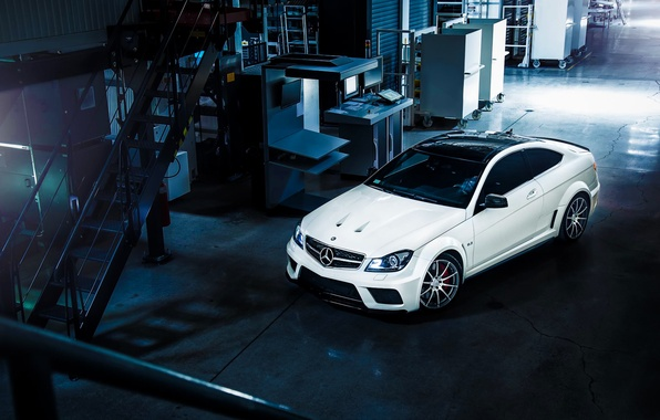 Картинка Mercedes-Benz, AMG, Black, Color, White, Series, View, C63, Top, Ligth