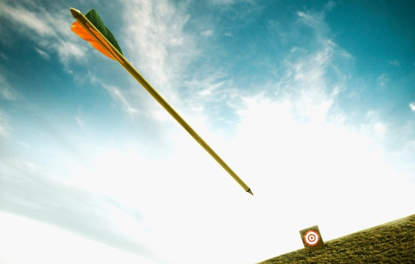 Картинка небо, полет, цель, стрела, мишень