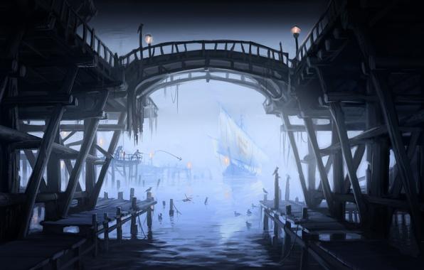 Картинка пристань, чайки, корабли, порт, фонари, парусники, Skyrim, concept art, The Elder Scrolls V