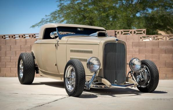 Картинка ретро, Ford, классика, передок, 1932, hot-rod, classic car